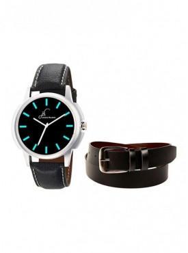 Jack Klein Round Dial Leather Strap Elegant Analogue Wrist Watch With Black Leather Belt