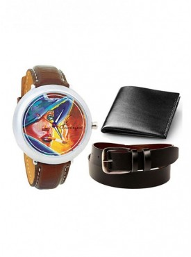 Jack Klein Round Dial Leather Strap Elegant Analogue Wrist Watch With Black Leather Wallet And Belt
