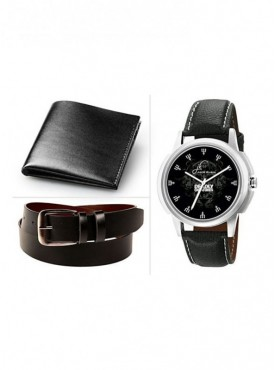 Jack Klein Combo of Leather Wallet And Belt With Elegant Analog Wrist Watch