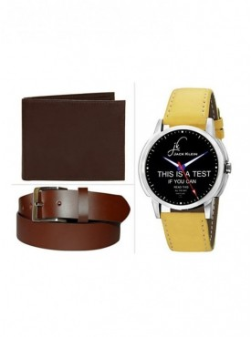 Jack Klein Combo of Brown And Black Leather Wallet With Elegant Analog Wrist Watch