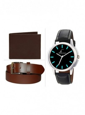 Jack Klein Combo of Brown Leather Wallet And Belt With Elegant Analog Wrist Watch