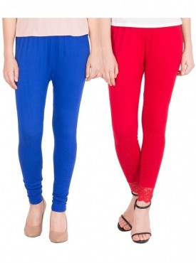 American-Elm Pack of 2 Women Cotton Viscose Leggings- Red, Blue