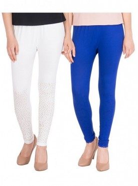 American-Elm Combos of 2 Women Viscose Leggings- Blue, Off White