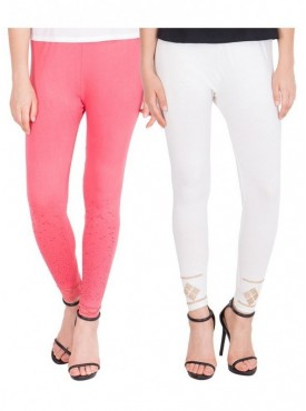 American-Elm Pack of 2 Women Cotton Viscose Leggings- Pink, Off White