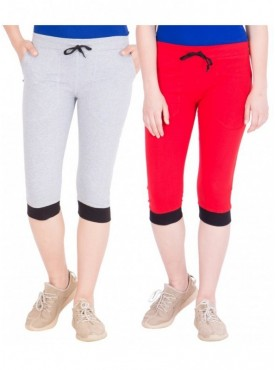 American-Elm Pack of 2 Women Cotton Capris-Grey, Red