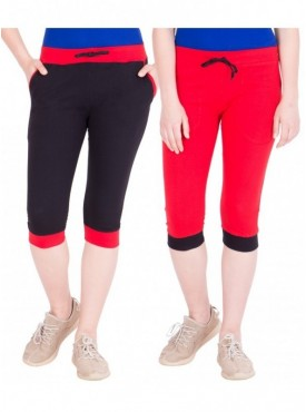 American-Elm Women Pack of 2 Cotton Capris- Black, Red