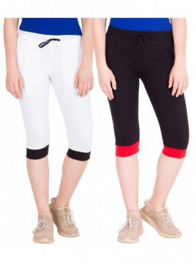 American-Elm Pack of 2 Women Cotton Capris-White, Black