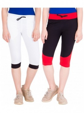 American-Elm Women Pack of 2 Cotton Capris- White, Black
