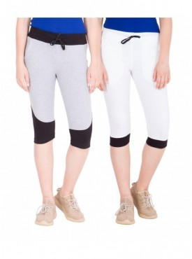 American-Elm Pack of 2 Women Cotton Capris-Grey, White