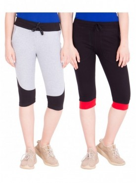American-Elm Pack of 2 Women Cotton Capris-Grey, Black
