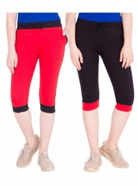 American-Elm Women Pack of 2 Cotton Capris- Red, Black
