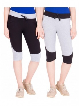 American-Elm Pack of 2 Women Cotton Capris-Black, Grey