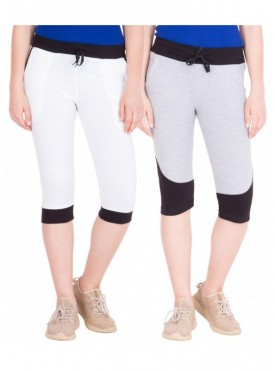 American-Elm Pack of 2 Women Cotton Capris-White, Grey