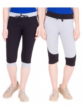 American-Elm Women Pack of 2 Cotton Capris- Black, Grey