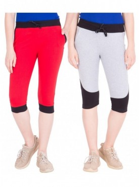 American-Elm Pack of 2 Women Cotton Capris-Red, Grey