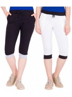 American-Elm Pack of 2 Women Cotton Capris-Black, White