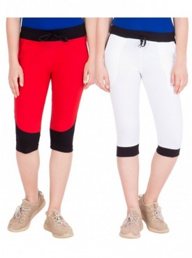 American-Elm Women Pack of 2 Cotton Capris- Red, White
