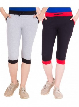 American-Elm Women Pack of 2 Cotton Capris- Grey, Black