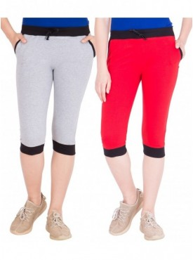 American-Elm Women Pack of 2 Cotton Capris- Grey, Red