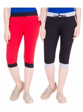 American-Elm Pack of 2 Women Cotton Capris-Red, Black