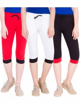 American-Elm Women Pack of 3 Cotton Capris- Red, White, Black