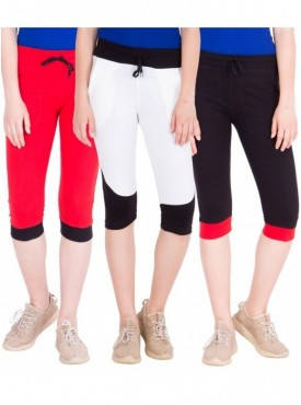 American-Elm Pack of 3 Women Cotton Capris-Red, White, Black