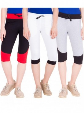 American-Elm Women Pack of 3 Cotton Capris- Black, White, Grey