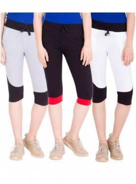 American-Elm Pack of 3 Women Cotton Capris-Grey, Black, White