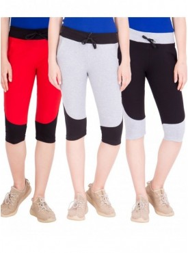 American-Elm Women Pack of 3 Cotton Capris- Red, Grey, Black