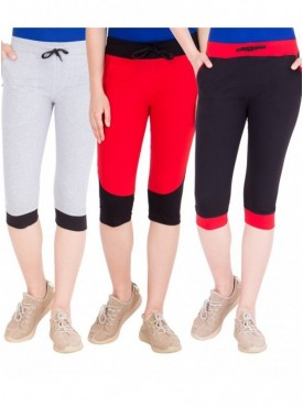 American-Elm Women Pack of 3 Cotton Capris- Grey, Red, Black