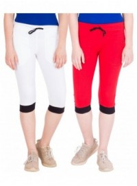American-Elm Women Pack of 2 Cotton Capris- White, Red