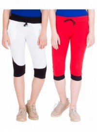 American-Elm Pack of 2 Women Cotton Capris-White, Red