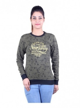 MG Wears Women New Jersy Print Sweat Shirt