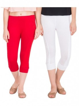 American-Elm Pack of 2 Women Cotton Viscose Capri- White Red