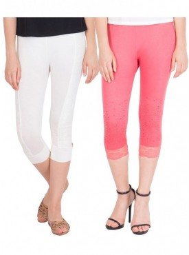 American-Elm Pack of 2 Women Cotton Viscose Capri- White Pink