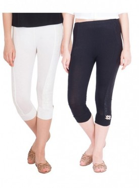 American-Elm Women Combo of 2 Cotton Viscose Capri- Off White Black