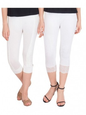 American-Elm Women Pack of 2 Three Fourth Capri- Off White White