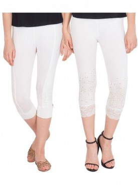 American-Elm Women Pack of 2 Three Fourth Viscose Capri- Off White Off White