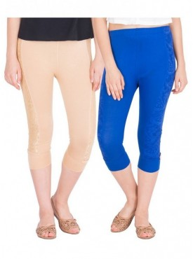 American-Elm Women Combo of 2 Cotton Viscose Capri- Beige Royal Blue