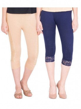 American-Elm Women Pack of 2 Three Fourth Capri- Beige Dark Blue