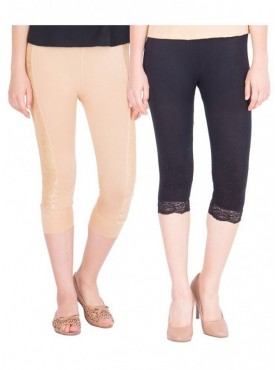 American-Elm Women Pack of 2 Cotton Viscose 3-4th Capri- Beige Black