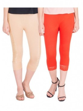 American-Elm Pack of 2 Women Cotton Viscose Capri- Beige Dark Orange