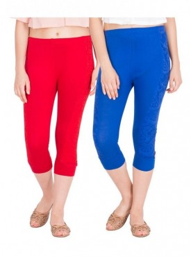 American-Elm Pack of 2 Women Cotton Viscose 3/4th Capri- Red Royal Blue