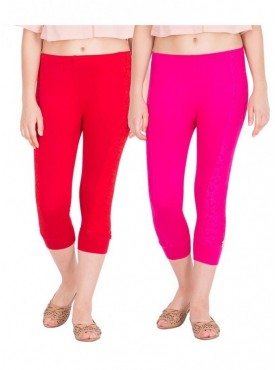 American-Elm Women Combo Of 2 Three Fourth Capri- Red Rani Pink
