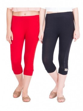 American-Elm Women Pack of 2 Three Fourth Capri- Red Black