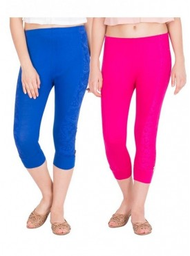 American-Elm Women Pack of 2 Three Fourth Capri- Royal Blue Rani Pink