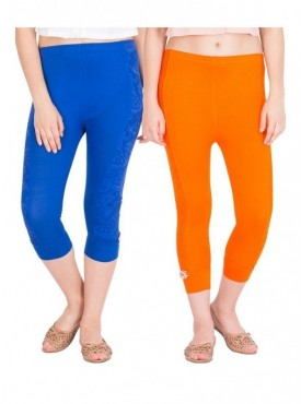 American-Elm Women Set of 2 Cotton Viscose 3-4th Capri- Royal Blue Orange