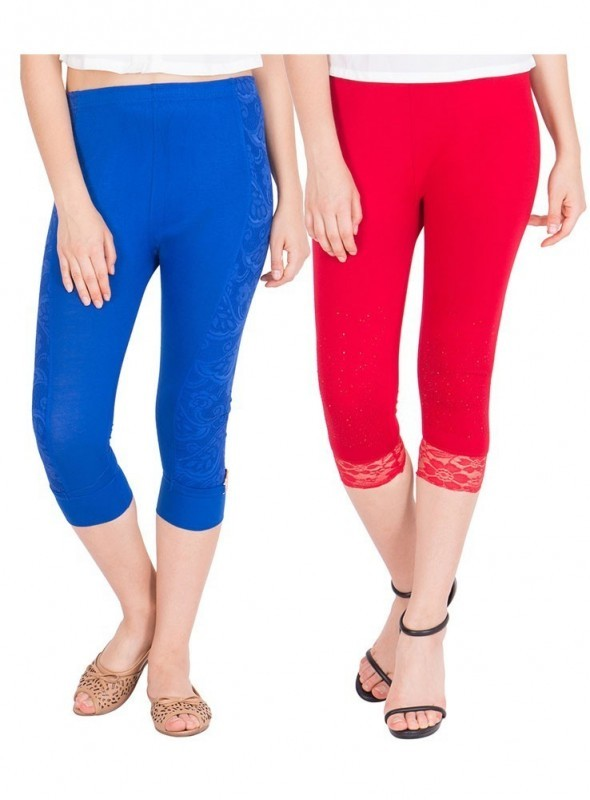 American-Elm Women Combo Of 2 Three Fourth Capri- Royal Blue Red