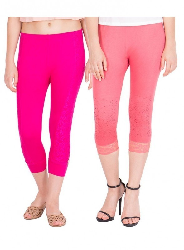 American-Elm Women Pack of 2 Cotton Viscose 3-4th Capri- Rani Pink Pink