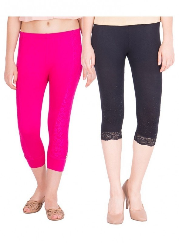 American-Elm Pack of 2 Women Cotton Viscose Capri- Rani Pink Black